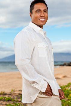 Linen traveler shirt - shirttail hem - sporty fit - ivory - Island Importer