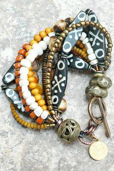 XOGALLERY BRACELETS   ... Bracelet Tribal Brown Bone Exotic Organic Amber XO Gallery   XO