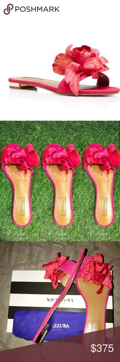 52b8aa71a6d New Aquazzura Flora Slides in Paradise Pink