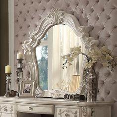 Astoria Grand Tanner Vanity Set with Mirror Color: Bone White White Vanity Mirror, Round Wall Mirror, Wall Mounted Mirror, Beveled Mirror, Dresser With Mirror, Vanity Set, Wood Mirror, Traditional Dressers, Acme Furniture