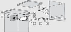 1a. Mecanism de ridicare simetric 1b. Carcasa mecanism de ridicare 1c. Capac de acoperire  2. Brat telescopic 3. Placuta montaj brat telescopic 4. Balama CLIP 120 grade fara arc 5. Placuta montaj pentru balama CLIP 120 grade 6. Balama CLIP intermediara fara arc 7. Placuta montaj pentru balama CLIP intermediara