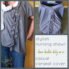 Stylish DIY Nursing Cover Up - does double duty and turns into carseat cover. Easy to make and man oh man has it come in handy!!! I got SO much use out of this one!