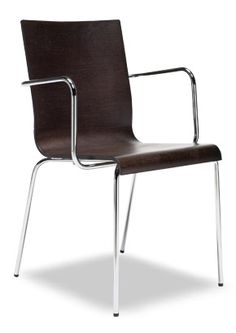 """""""Kuadra Modern Wood Arm Chair Round Legs"""" Stackable armchair with round steel tube armrest. Please contact us for pricing Wood Chairs, Arm Chairs, Dining Room Chairs, Restaurant Furniture, Bar Furniture, Tube, Steel, Legs, Modern"""