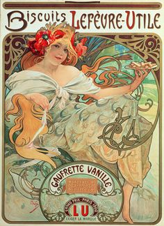 "Mucha, Alphonse Marie -- ""Poster advertising 'Lefevre-Utile' biscuits, 1896 "" -- High quality art prints, canvases, postcards -- Mucha Foundation Prints"