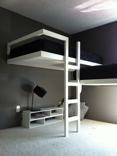Split level l shaped loft beds