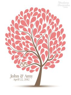 Wedding Signature Guestbook Alternative- 125 Guest - Companion Owls in A Tree - Personalized Wedding Guest book Print