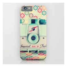 Film Mint Camera On A Colourful Retro Background iPhone & iPod Case ($35) ❤ liked on Polyvore