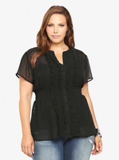Ruffled Chiffon Empire Blouse