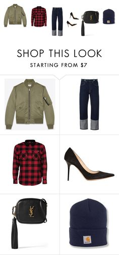 """Untitled #3639"" by memoiree ❤ liked on Polyvore featuring Yves Saint Laurent, rag & bone, Carhartt and Jimmy Choo"