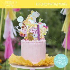 Torta de circo para niñas. Kit imprimible Circo Niñas. Circus Party Cake.