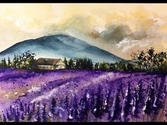 Watercolor Lavender Fields Painting Demonstration - YouTube