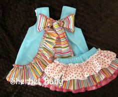 Aqua Pinafore & Sassy Pants Ruffle Diaper Cover by SherbetBaby, $68.00