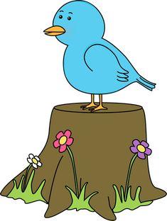 Bird on a Tree Stump Clip Art - Bird on a Tree Stump Image