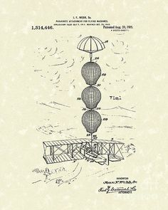 Parachute Attachment for Flying Machines 1919 Patent Art #patentart