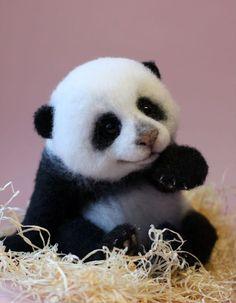Wool felt toy made by Russian artist Tatyana Do you love it?#panda #animals