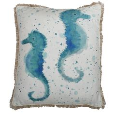 Bring some coastal chic to your home with the Syrena Seahorse pillow. Watercolor style seahorses are printed on white faux linen with a coordinating splatter design. A short looped fringe boarders the entire pillow to complete the look.