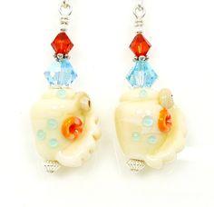 Seashell Earrings Lampwork Earrings Glass Seashell by BeadzandMore, $26.00
