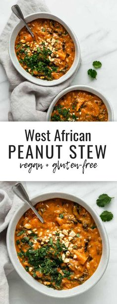 West African peanut stew is a healthy recipe that is vegan and gluten-free! It's perfect for a cozy weeknight dinner.This West African peanut stew is a healthy recipe that is vegan and gluten-free! It's perfect for a cozy weeknight dinner. Whole Foods, Whole Food Recipes, Cooking Recipes, Healthy Recipes, Peanut Recipes, Bakery Recipes, Vegetarian Stew, Vegan Soups, Vegan Stew