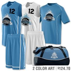 Basketball Jersey & Shorts, Coordinating Shooting Shirt and Bag with decoration and printing.   Team Pack Winning Streak   www.TeamSportsPlanet.com