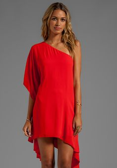 BCBGMAXAZRIA One Shoulder Dress in Bright Red