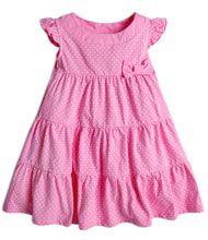 Vestido Infantil Poá com Babados - tam 1 a 4 anos / Cor:  Rosa / Marca: Póim (1 a 4 anos)