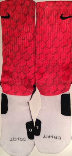 Red Reptile Skin Custom Nike Elite Socks by DopeSocksAndStuff, $22.99