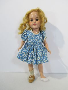Doll Vintage Hard Plastic Blonde Open Close Eyes Blue Dress