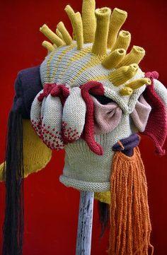 Knitted mask ©Tracy Widdess Tracy Widdess's… Knit Art, Crochet Art, Design Textile, Textile Art, Mode Bizarre, Art Costume, Yarn Bombing, Masks Art, Soft Sculpture
