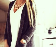 Blouse + Oversized cardigan + watch + statement necklace