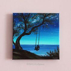 Pequeña pintura arte chica en árbol del oscilación día de #OilPaintingColorful