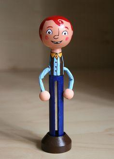 Goofy redheaded Clothespin Doll