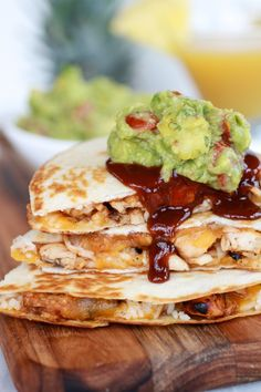 Hawaiian BBQ Quesadillas with Pineapple-Mango Guacamole by halfbakedharvest.com ~ Oh, heck to the YES! | bbq barbecue cheese chicken texmex recipe