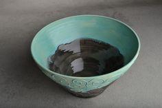 Bowl: Matte Blue and Gloss Black Slip Trailed Wheel Thrown Bowl by Symmetrical Pottery