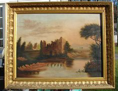 "This is an Antique Oil Painting on Canvas depicting the Ruins of an Old Building along a Riverbank . A Female sits on the near bank viewing the scene across the River . The artist painted the figure and foliage in a Folksy Manner in fact the entire painting can be considered "" Folk Art "" . This artist obviously held natural talent yet his / her hand is still Primitive . The sky is painted in beautiful shades of Blue and Salmon / Pink ."