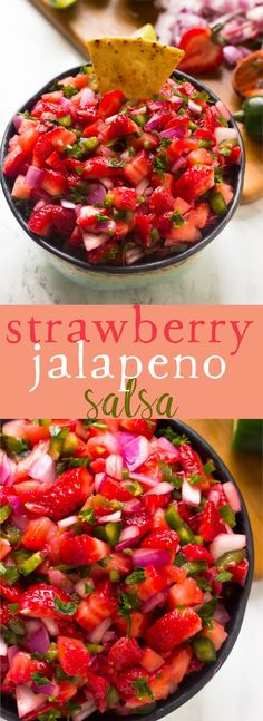 This Strawberry Jalapeno Salsa takes only 10 minutes with 5 ingredients! This Strawberry Jalapeno Salsa takes only 10 minutes with 5 ingredients! It's a delicious sweet and spicy salsa that Jalapeno Salsa, Cilantro Salsa, Jalapeno Recipes, Mexican Food Recipes, Vegetarian Recipes, Cooking Recipes, Healthy Recipes, Salad Recipes, Tapas