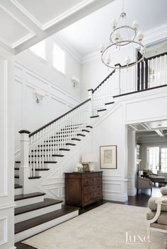 A staircase in your home can be a perfect interior symbol to bring a luxury design style. A big home with a big stair too usually is more recommended to have a luxury style on it. The staircase is als Foyer Staircase, Entry Stairs, House Stairs, Staircase Design, Staircase Ideas, Luxury Staircase, Stairwell Wall, Entry Foyer, Staircase Landing