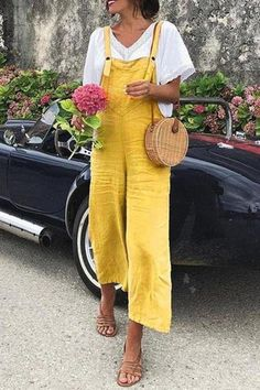 EBUYTIDE Bright Yellow Sling Casual Jumpsuit – ebuytide Long Jumpsuits, Jumpsuits For Women, Suspenders For Women, Casual Jumpsuit, Jumpsuit Outfit, Maxi Dress With Sleeves, Types Of Sleeves, Plus Size Women, Leggings Are Not Pants
