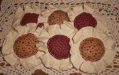 Primitive Burgundy and Mustard Calico Fabric by TheOldBarnSale