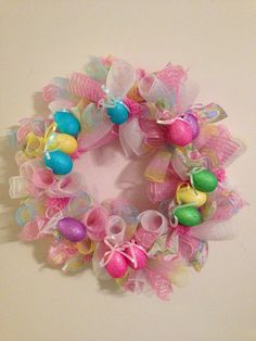 Easter Egg Deco Mesh Ribbon Wreath Pink White and by MAGWreaths, $55.00