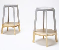 Kitchen stools painted at the top but left with a natural finish at the bottom