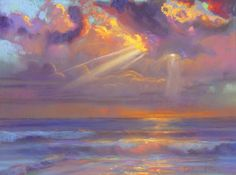 Three lines drawn with white pastel well depicts the sunlight coming out from cloud.