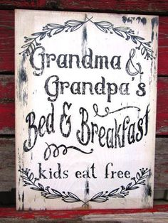Grandma and Grandpas bed and breakfast kids eat free