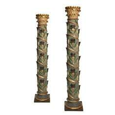 Pair of Column's, early 18th century, wood carved and polychromed | From a unique collection of antique and modern architectural elements at http://www.1stdibs.com/furniture/building-garden/architectural-elements/
