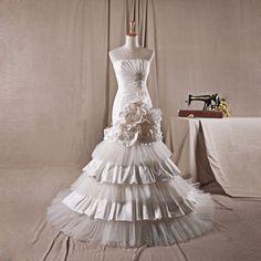 Fashionable one shoulder natural waist tulle wedding dress,wedding dress