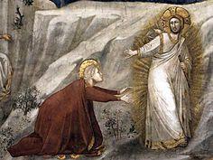 Giotto di Bondone - Scene della vita di Maria Maddalena: Noli me tangere, dettaglio - affresco - 1320s - Basilica inferiore di San Francesco d'Assisi