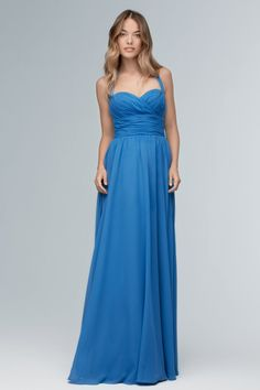 Wtoo 103 is a stylish bridesmaid gown. Featuring a sweetheart halter neckline and thoughtful ruching on the bodice, this gown is fun and flirty. A wide band at the waist creates a feminine shape, while the long Inna Chiffon skirt is perfect for dancing. Classic Bridesmaids Dresses, Brown Bridesmaid Dresses, Blue Bridesmaids, Mob Dresses, Fashion Dresses, Formal Dresses, Wedding Dresses, Stylish Gown, Strapless Dress Formal