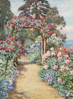 acuarelă artist Beatrice E. Garden Gates, Garden Art, Belle Image Nature, Rose Arbor, One Stroke Painting, Garden Pictures, Rose Cottage, Anime Art Girl, Ribbon Embroidery
