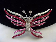 AUSTRIA Jewelry Butterfly Brooch Pin Red Pink Glass Rhinestone Silver Plate…