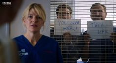 """Lesbian Love - """"Holby City"""" - Bernie (Jemma Redgrave) with a bit of support from Jason and Fletch Jemma Redgrave, Bbc Casualty, Holby City, City Quotes, Medical Drama, Soap Stars, Tv Soap, Lesbian Love, Love Is All"""
