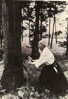 Morihei Ueshiba O'Sensei and the tree.